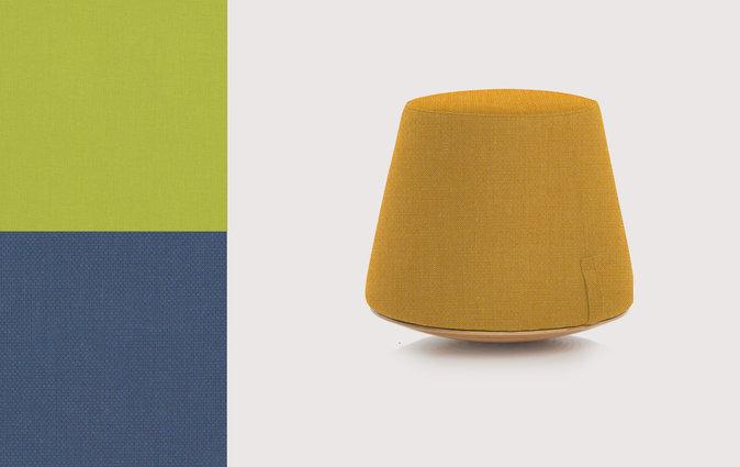 Muzo's Bebop stool with yellow vinyl upholstery