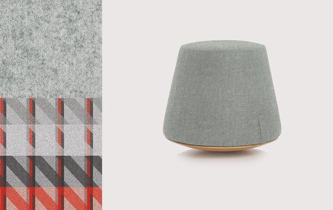 Muzo's Bebop stool featuring grey wool upholstery