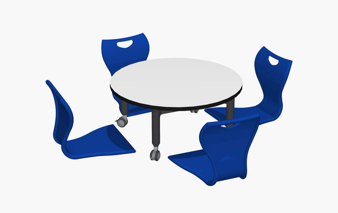 Super Low Versatilis floor table with royal blue MBob floor chair