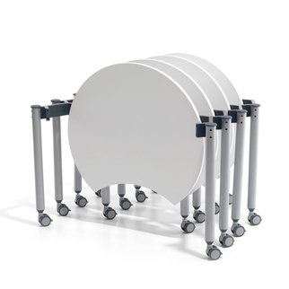 White Mini Mobile flip-top tables in nesting position