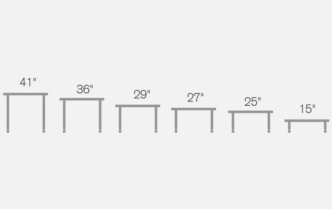 Super Low Versatilis floor table shown in different heights