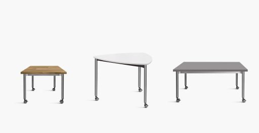 Muzo's Versatilis tables shown in various shapes and designs