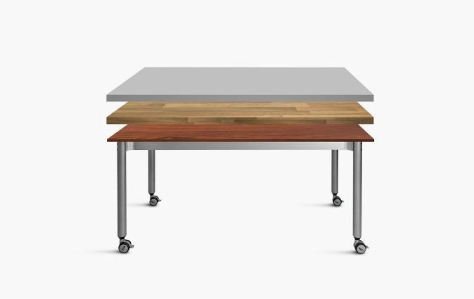 Muzo's Versatilis table shown with various work surfaces