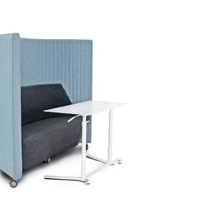 Muzo's Waltzer portable sofa and workstation perfect for privacy in open plan offices