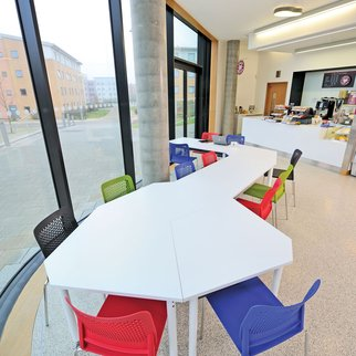 Colorful Muzo furniture in cafeteria