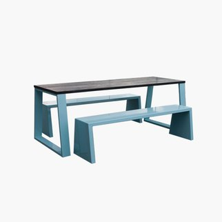 Muzo's Block table with blue legs and benches