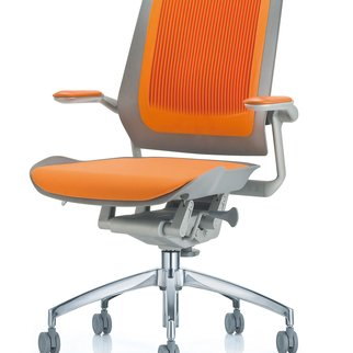 Muzo's Bodyflex mobile task chair complete with auto-glide technology in orange