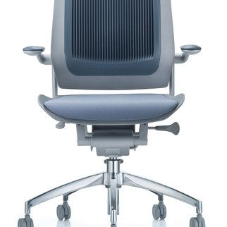 Muzo's Bodyflex mobile task chair complete with auto-glide technology in blue
