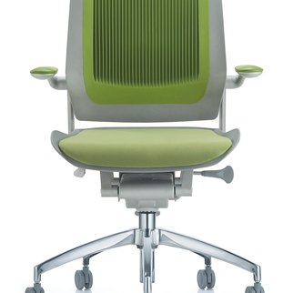 Muzo's Bodyflex mobile task chair complete with auto-glide technology in green
