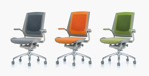 Muzo's Bodyflex task chair shown with various active back colors