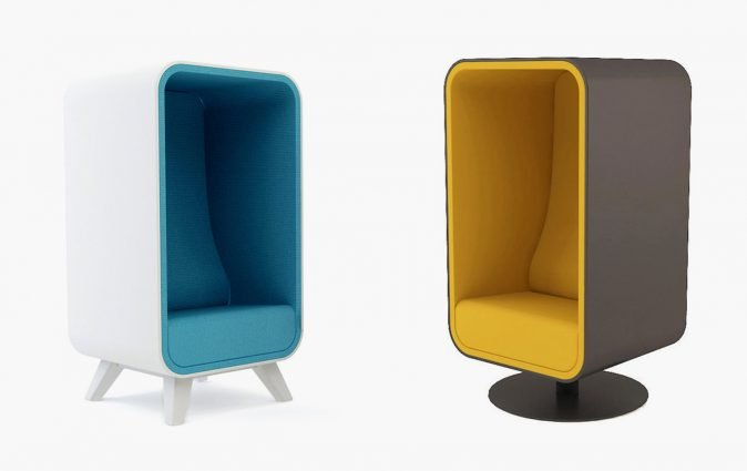 Two Muzo Box Lounger sofas with blue and yellow upholstery