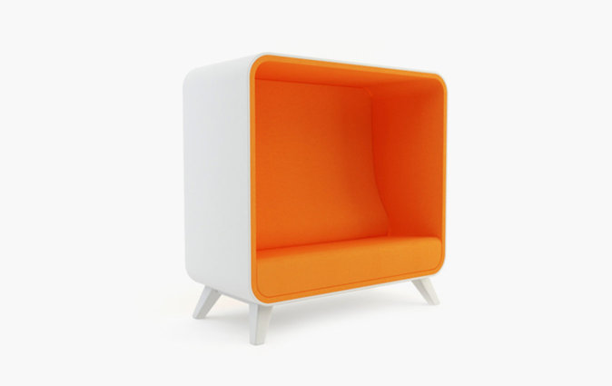 Box Lounger sofa with orange upholstery