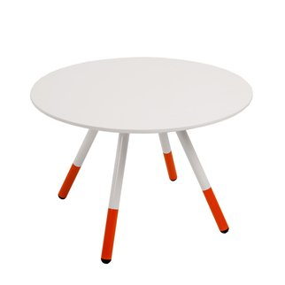 Large white Daywalker side table with orange legs