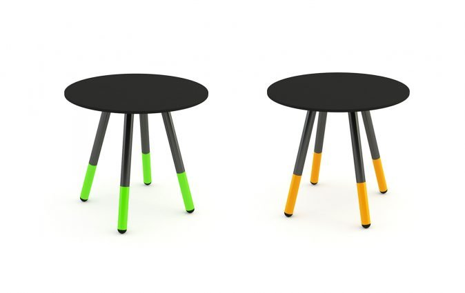 Two black Muzo Daywalker coffee tables with differing leg colors