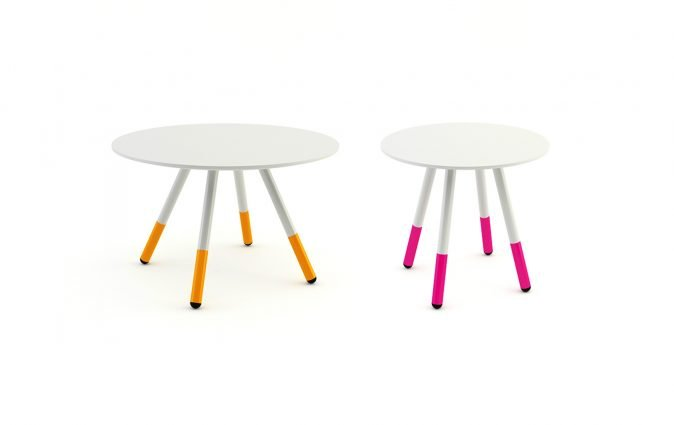Muzo Daywalker coffee tables shown in different sizes and leg colors