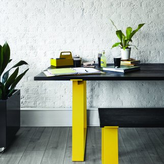 Edge industrial table and bench set pictured indoors