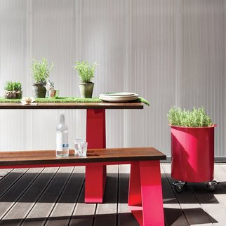 Edge industrial table and bench set pictured outdoors