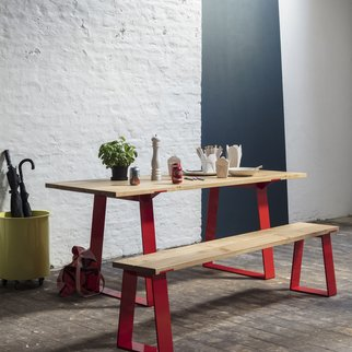 Edge industrial table and bench set pictured in kitchen