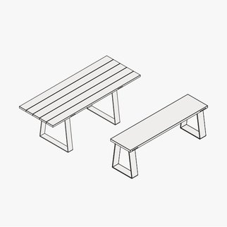 Drawing of Edge table and bench