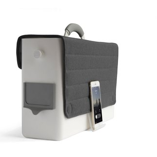 Muzo's HB-Two personal storage box with phone clip accessory for safe device support