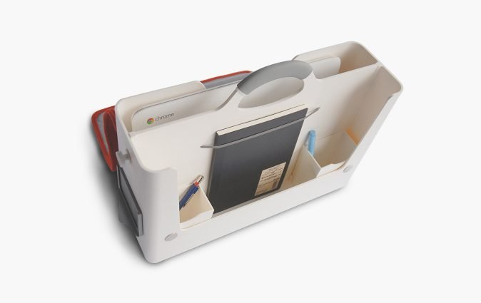 Inside view of the HB-Two personal storage box's separate compartments