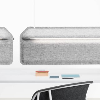 LJ1 shell chairs pictured around meeting table with dividers