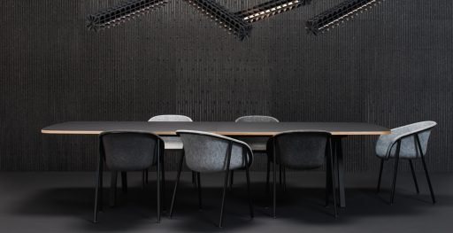Versatile and environmentally friendly LJ1 shell chairs used in meeting room