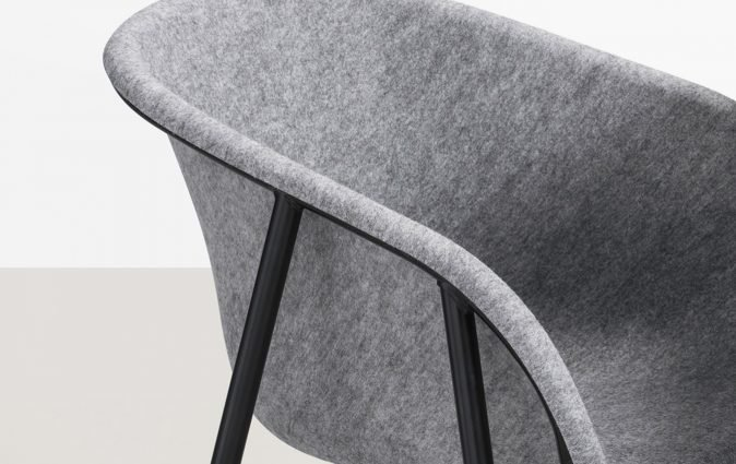 Close up of LJ1 shell chair made from recycled PET bottles