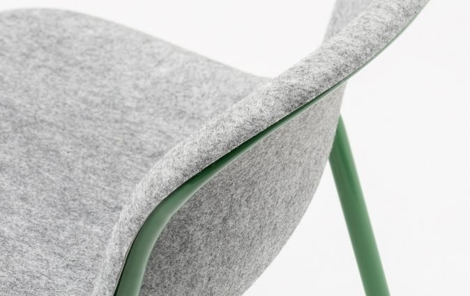 Close up of recycled, sound dampening PET felt used to make LJ2 stacking chair