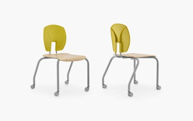 Front and rear view of Muzo's Mix mobile seat in yellow and veneer