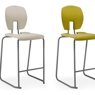 Pair of Mix stools available in various color and veneer combinations
