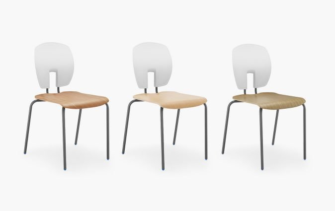 Muzo's Mix education seating shown in white with wood veneer