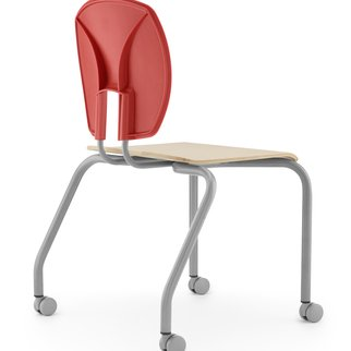 Muzo's Mix mobile chair with veneer seat, bright back color and various frame colors