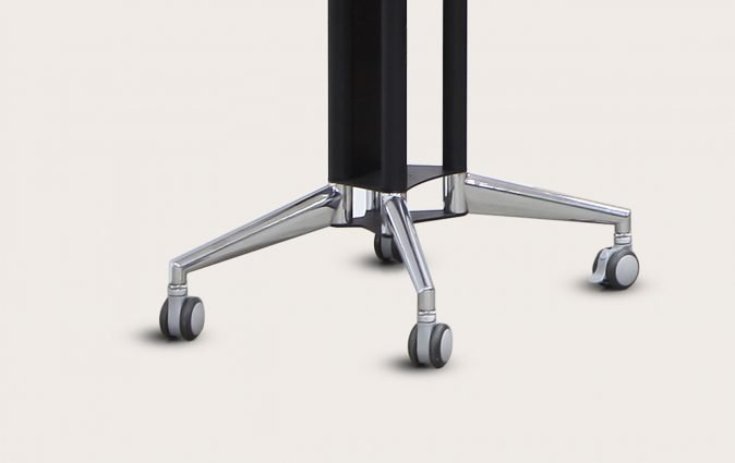 Close up of ultra stable, dual locking jewel casters used on Modia portable media unit