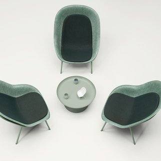 Trio of Muzo's Nook lounge chairs with customizable shell and frame