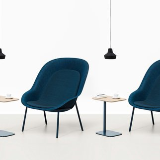 Muzo's unique and comfortable Nook lounge chairs have fully customizable shells and frames