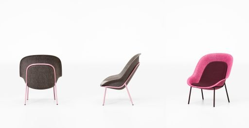 Side view of Nook lounge chair made from recycled and recyclable felt