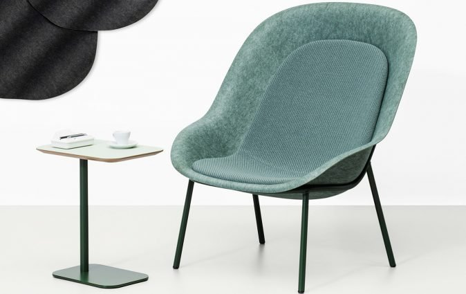 Muzo's Nook lounge chair with PET technology and fully customizable design