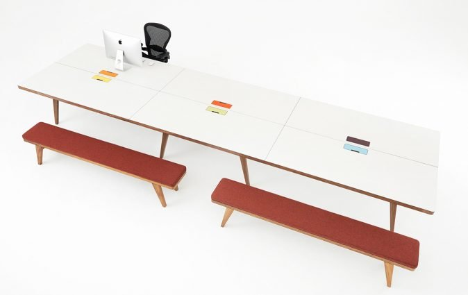 Osprey contemporary table and benches with built in power options