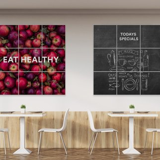 PXL changeable magnetic wall panels - writable and custom graphics - in cafeteria