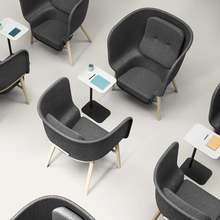 Selection of M-Pod privacy with customizable shells and frames chairs