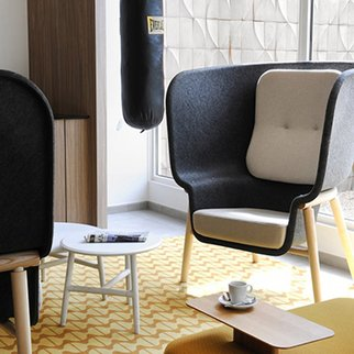 The M-Pod sound dampening privacy chair at home