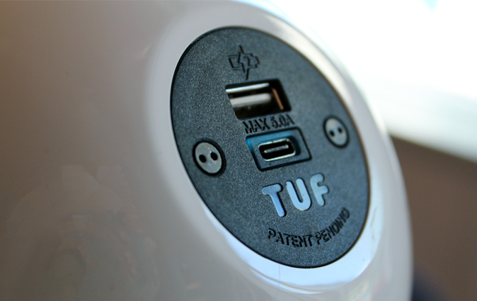 Close up of the Muzo Powerball USB charging station