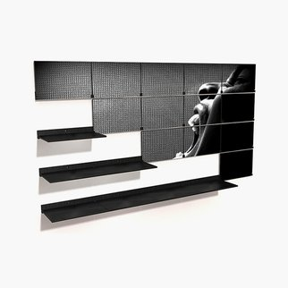 Riveli shelving system unfolded and folded with custom artwork panels
