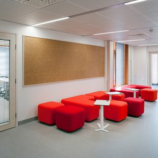 Red Signs modular seating system pictured in education setting