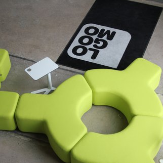 Signs modular seating system pictured in green zest