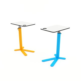 Pair of colorful Space Chicken side tables with adjustable height