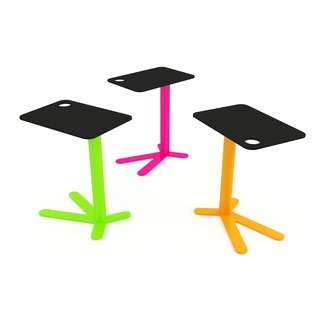 Trio of colorful Space Chicken side tables with fixed height