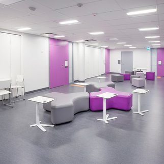 Signs modular seating system pictured in breakout area