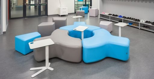 Creative layout of Muzo's Signs seating in office setting